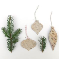 Ornaments from tree bark in lovely vintage shapes: Etsy.