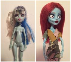 """Made a Sally doll OOAK repaint from nightmare Before Christmas! I have a Corpse bride and """"Jacky"""" Skellington in the works right now too! Sally is in my Etsy shop right now! Just search """"NorthEastKeepsakes"""" to see more photos of Sally! Bratz Doll, Ooak Dolls, Plush Dolls, Custom Monster High Dolls, Custom Dolls, Nightmare Before Christmas Dolls, Doll Repaint Tutorial, Barbie, Halloween Doll"""