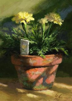 "Daily Paintworks - ""Marigolds in Morning Light"" - Original Fine Art for Sale - © Linda Jacobus"
