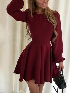 Stylish Solid Pleated Lanter Dress Casual Dress
