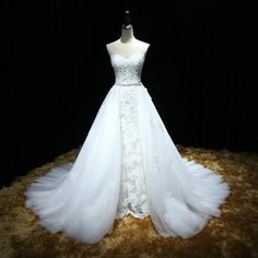 XW4 Sweetheart Lace Mermaid Wedding Dress with a Detachable Skirt and Train with Lace Up Back