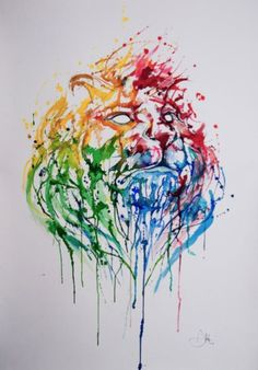 Water Color / A Portrait of Hong Kong print by Marc Allante Watercolor Lion, Watercolor Paintings, Ink Paintings, Watercolor Tattoo, Simple Watercolor, Watercolor Sketch, Sketch Art, Watercolors, Sketches