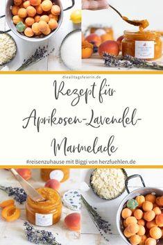 Aprikosen-Lavendel-Marmelade mit Mandeln. Rezept für #reisenzuhause mit Biggi von herzfuehlen.de Provence, Cantaloupe, Dairy, Cheese, Fruit, Food, Bakery Business, Gelee, Almonds