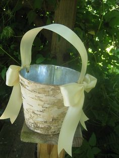 Lizzie's  Birch Flower girl Basket  You choose by FloralAccents, $18.00