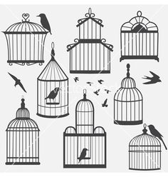 Bird cages silhouette vector on VectorStock®