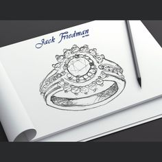 """The design was made with Lee's words in mind. The two sides that """"embrace"""" the centre Halo symbolise this lady and Lee coming together to form one family. Ring Sketch, Engraved Rings, Sketch Design, Halo Diamond, Handwriting, Ring Designs, Closer, Centre, How To Find Out"""