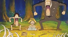 Luffy, Ace, and Garp