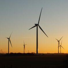 Sunset, windfarm,  Scunthorpe, North Lincolnshire, England