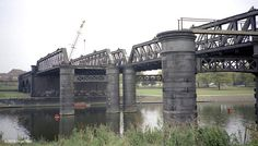 GCR bridge over the river Trent near Nottingham under demolition Train Tunnel, Trains For Sale, Nottingham City, Disused Stations, Steam Railway, Over The River, Model Train Layouts, Water Tower, History Photos