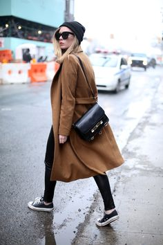 Camel coat and leather pants #Storets #Inspiration #Streetstyle