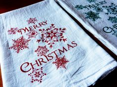 Christmas Tea Towel  Screen Printed Merry Christmas in by LyndiArt, $22.00