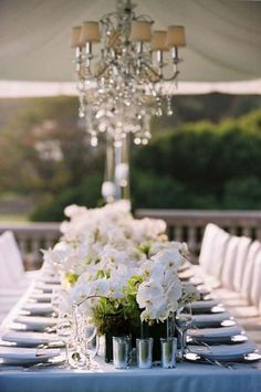 We Are Gaga Over Today's White Orchid Tablescape. Gorgeous White Orchid Centerpieces Running Down The Middle Of The Table Gives This Wedding A Lovely Look.