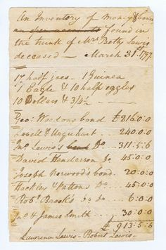 "1-4. Gold Coins – of George Washington's Sister. Manuscript ""Inventory of Money & bonds found in the trunk of Mrs. Betty Lewis deceased Mar. 31, 1797"" probably Fredericksburg, Va., 4 x 6-1/2, 1-1/4 pp., signed twice each by Lawrence Lewis and Robert Lewis – the sister and nephews, respectively, of George Washington. Listing ""17 half joes, 1 Guinea, 1 Eagle & 10 half eagles, 10 Dollars & 3/4-1/2. Geo. Weedon's bond £216:0:0, Lovell & Urquhart d(itt)o £240:0:0, Jno... George Washington, Gold Coins, Bond, Presidents, Sisters, Characters, Costumes, Friends, Amigos"