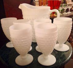 Vintage opaque white anchor hocking hobnail milk glass water lemonade tea pitcher tumbler goblet 7 PC set bowl set best offer free shipping  on Etsy, $164.00