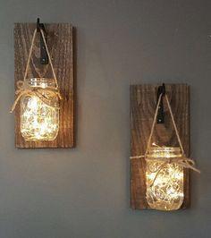 Set of 2 Hanging Mason Jar Sconces Reclaimed от AllThatsRustic