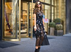 Standout New Years Dress. New Years look. Embellished dress. Black dress with bodysuit. http://rstyle.me/n/cvrs23b8ym7