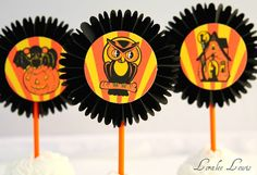 Halloween rosette cupcake toppers