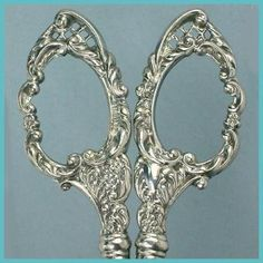 ornate sterling embroidery scroll scissors