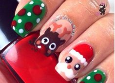 I have 15 Santa nail art designs, ideas, trends & stickers of Try these Xmas nails this December and feel complete in yourself, cheers! Holiday Nail Art, Christmas Nail Art Designs, Nail Art Noel, Santa Nails, Christmas Gel Nails, Nagellack Design, Super Cute Nails, Nails Inspiration, Simple Christmas
