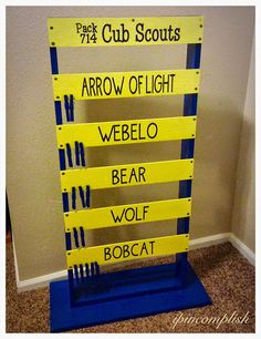 cub scout advancement ladder. Make it fun for the boys to see where they are in their ranks