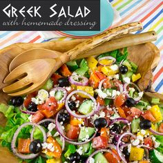 Greek Salad with Dressing and Ingredients Recipe pinterest