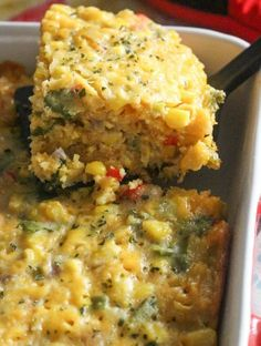 Easy Tex Mex Corn casserole made with frozen corn, cilantro, onions, cheese, and more. Replace egg and milk to make veg! I Heart Recipes, Side Dish Recipes, Vegetable Recipes, Dinner Recipes, Breakfast Recipes, Mexican Food Recipes, Vegetarian Recipes, Cooking Recipes, Healthy Recipes
