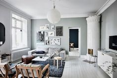 This Swedish apartment belonging to Emma Solveigsdotter is absolutely beautiful. Emma has used tones along a spectrum of blue-green to make every room different. The colour also cleverly enhances the