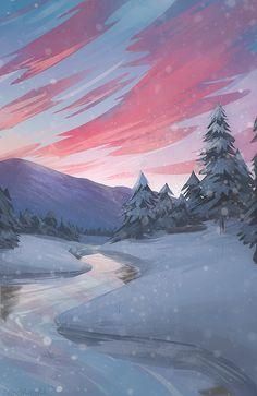 Missing Winter Art Print by zandraart - X-Small Scenery Wallpaper, Cool Wallpaper, Wallpaper Backgrounds, Amazing Backgrounds, Screen Wallpaper, Fantasy Landscape, Landscape Art, Aesthetic Backgrounds, Aesthetic Wallpapers