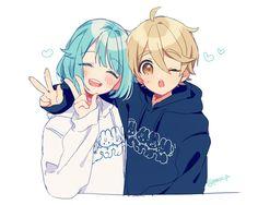 C: Anime girl and boy Anime Couples Drawings, Anime Couples Manga, Cute Anime Couples, Anime Guys, Anime Sisters, Anime Siblings, Mangaka Anime, Anime Chibi, Anime Amor