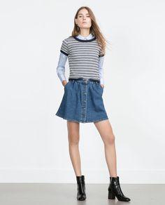 Image 1 of VINTAGE-STYLE DENIM SKIRT from Zara