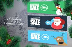 #Christmas #Facebook Cover Pack by Flotas Media Market on @creativemarket #flatdesign
