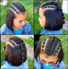 Hair style for little girls Coiffure pour les petites filles Baby Girl Hairstyles, Box Braids Hairstyles, Childrens Hairstyles, Teenage Hairstyles, Toddler Hairstyles, Hairdos, Natural Hair Styles, Short Hair Styles, Braid Styles