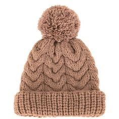 7Ii 'Mount Blanc' beanie (2.680.975 VND) ❤ liked on Polyvore featuring accessories, hats, brown, brown beanie, pompom hat, pom beanie, beanie cap and pom pom beanie hat