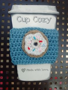 Crochet Coffee Cup Cozy  Donut With Sprinkles by Angelarae63