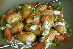 New potatoes with salmon and sourcream