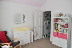 Sugar, Spice & All Things Nice - A Toddler Girl Room Makeover! - www.stacyssavings... #girl #toddler #nursery #bedroom #pinkceiling #yellow #pink #whitewalls #home #toddlergirl #girlbedroom