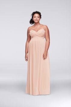 Keegan Acton chose this blush strapless chiffon prom dress with ...