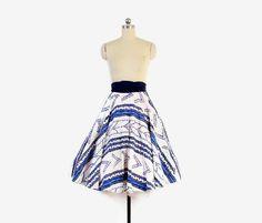 Vintage 50s CIRCLE SKIRT / 1950s Blue & White Chevron Dots Hawaiian Full Skirt XS #50sstyle #50sfashion #50sclothes