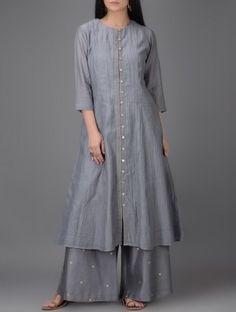 Grey Button-down Chanderi Kurta