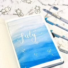 First month in my new @dingbatsnotebooks notebook! 😍 The pages are so thick and creamy 😍 . This month's theme is the ocean 🌊🌊 . . .…
