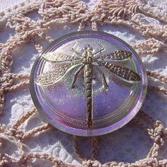 Lavender Pink Golden Dragonfly Czech Glass by vintagebeadnut
