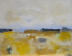 Yellow Abstract Seascape Landscape City Acrylic by lindadonohue