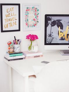 Love these prints and this desk