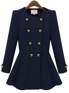 Navy Long Sleeve Double Breasted Ruffle Coat