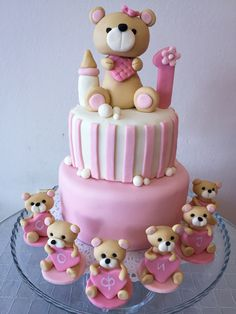 Pink taddy bear cake One Year Birthday Cake, Girl Shower, Baby Shower, Bear Cakes, Pink, Ideas, Babyshower, Baby Showers, Pink Hair