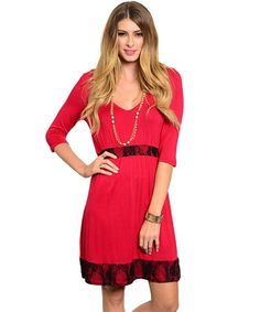 Red Dress With Lace Details