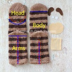 Sock Sloth Plushie - Free Sewing Pattern : Sew cute & sluggish looking sock sloth, Smie. It is long sewn from chenille socks, with 3 claws on each limb, big groggy eyes & a sweet smile. Sewing Patterns Free, Free Sewing, Doll Patterns, Bear Patterns, Sewing Toys, Sewing Crafts, Sewing Projects, Crochet Sloth, Crochet Dolls