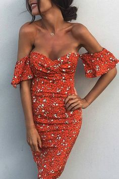 Платье midi, платье с цветочным принтом, с плеча, с плеч, выездное платье, сексуальное цветочное платье