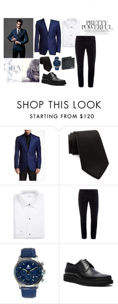 """fai in dark blue suit"" by zozanazozane ❤ liked on Polyvore featuring Ted Baker, Moschino, ETON, Bottega Veneta, Lanvin and BOSS Hugo Boss"