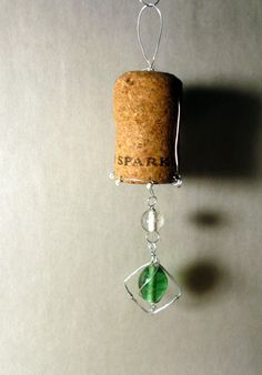 Sparkling Wine Cork Ornament - Window Charm - Upcycled, Wire Wrapped, & Beaded - Summer Wedding - Beach Wedding Favor